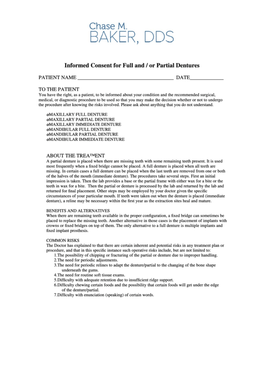 Informed Consent For Full And Or Partial Dentures Form
