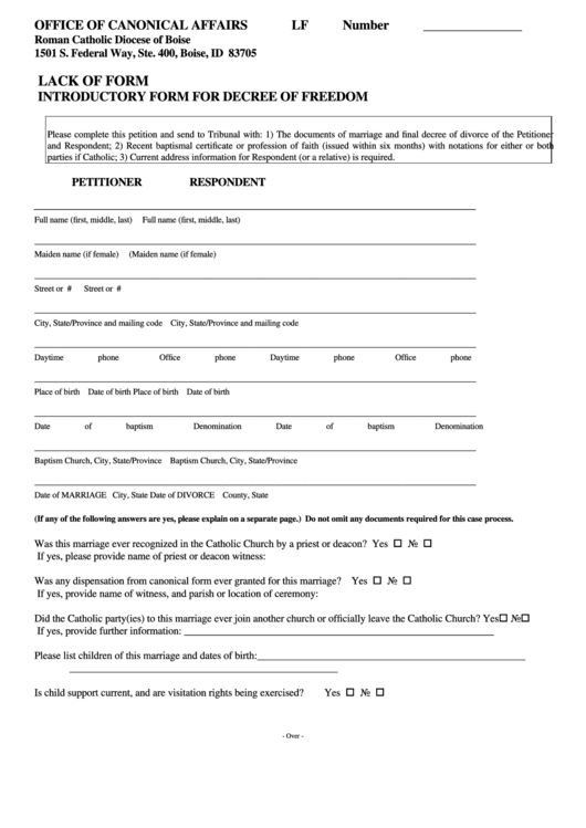 Lack Of Form - Introductory Form For Decree Of Freedom Printable pdf
