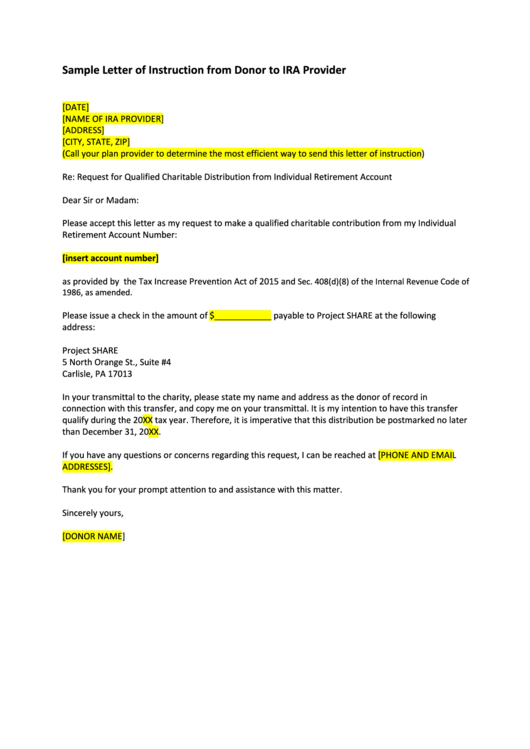 sample letter of instruction from donor to ira provider