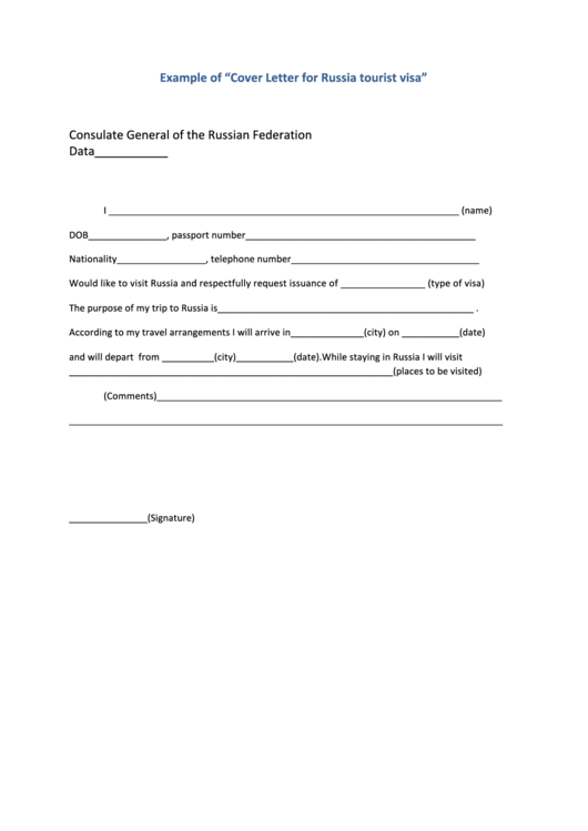 Cover Letter Template For Russia Tourist Visa Printable pdf
