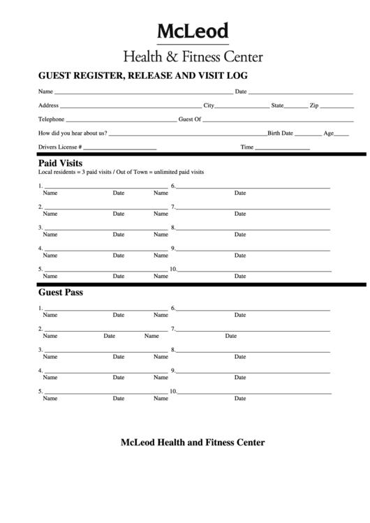 Fillable Guest Register - Release And Visit Log Printable pdf