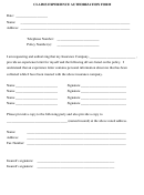Claims Experience Authorization Form