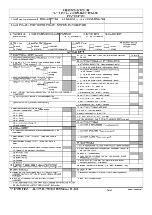 Fillable Dd Form 2493-1 - Asbestos Exposure Part I - Initial Medical Questionnaire Printable pdf