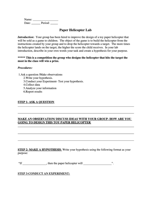 paper helicopter lab report template printable pdf download