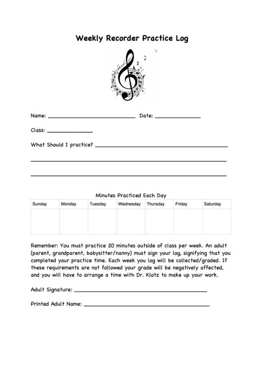 weekly recorder practice log printable pdf download