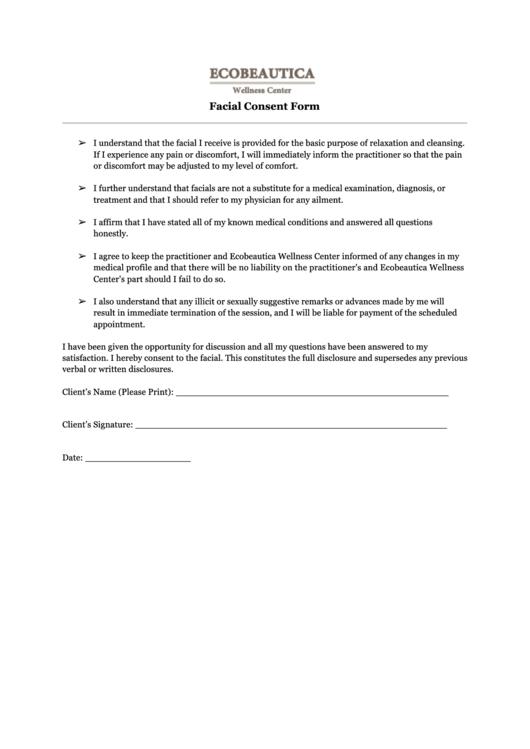 facial consent form ecobeautica printable pdf download. Black Bedroom Furniture Sets. Home Design Ideas