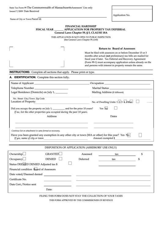 State Tax Form 99 - Financial Hardship Fiscal Year - Application For Property Tax Deferral