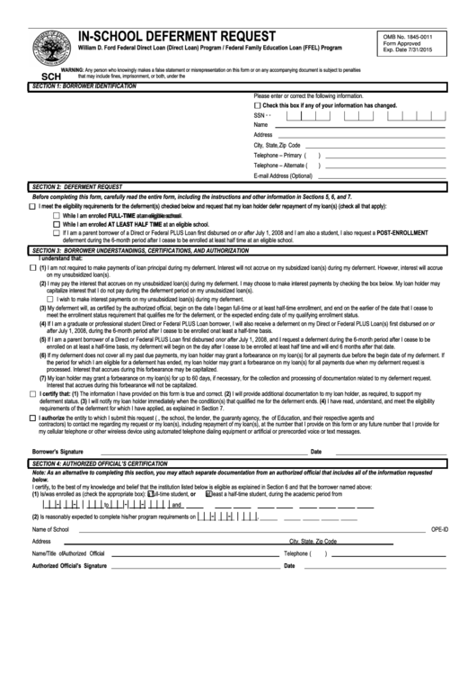 Stafford Loan In-school Deferment Request Form