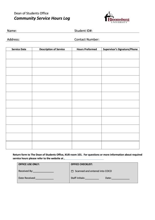 Community Service Hours Log - Bloomsburg University Printable pdf