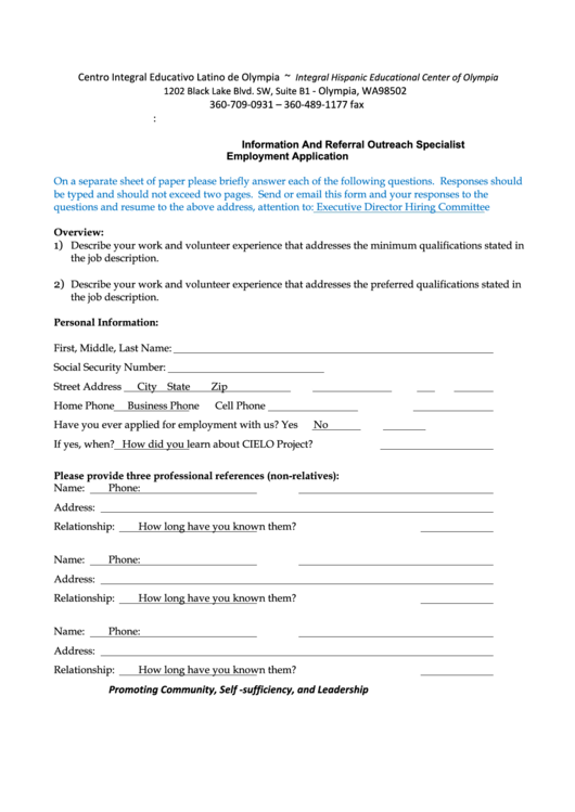 Information And Referral Outreach Specialist - Employment Application Printable pdf