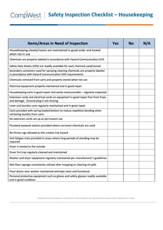 housekeeping safety inspection checklist template printable pdf download. Black Bedroom Furniture Sets. Home Design Ideas