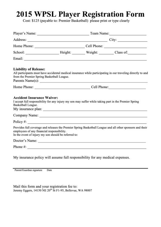 2015 Wpsl Player Registration Form Printable pdf