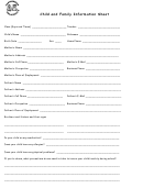 Child And Family Information Sheet