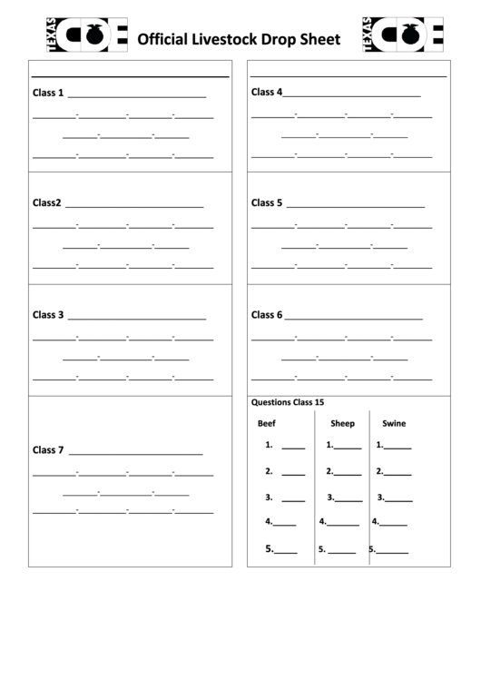 Official Livestock Drop Sheet Printable pdf