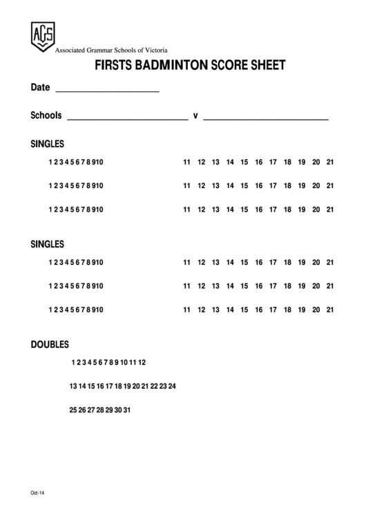 Firsts Badminton Score Sheet Printable pdf