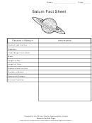 Saturn Fact Sheet Template
