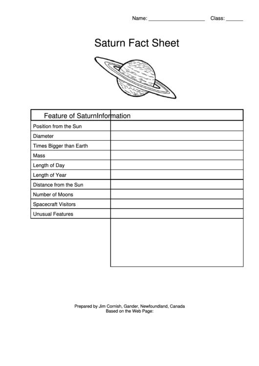 Saturn Fact Sheet Template Printable pdf
