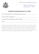 Original Ownership Document Cover Sheet - Us Department Of State