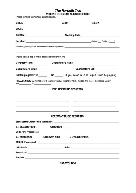 Wedding Ceremony Checklist Template