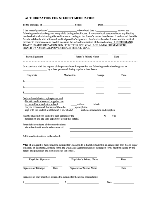 Authorization For Student Medication Printable pdf