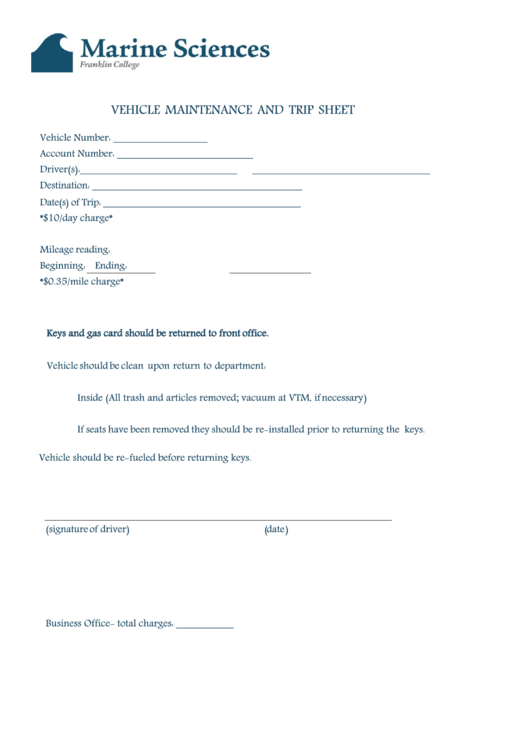 Vehicle Maintenance And Trip Sheet - Marine Sciences Franklin College