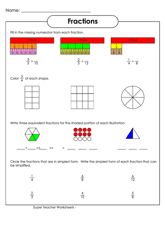 Fractions Worksheet With Answer Key printable pdf download
