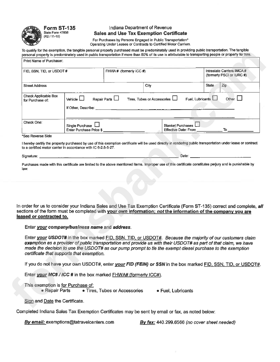 Indiana Department Of Revenue Sales And Use Tax Exemption