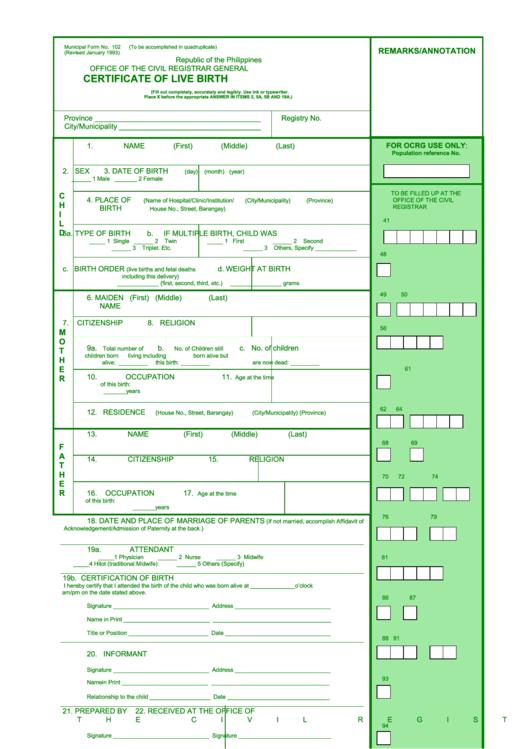 birth philippines certificate registration affidavit republic paternity delayed admission acknowledgement pdf printable template
