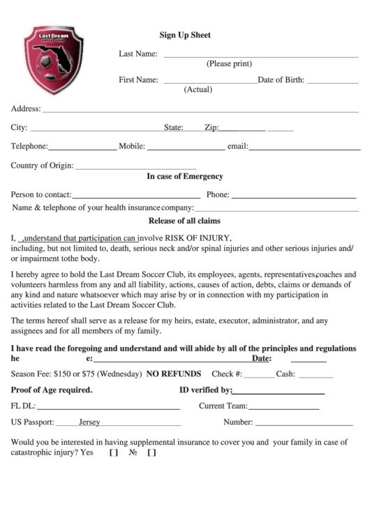 Sign Up Sheet - Last Dream Soccer Club Printable pdf