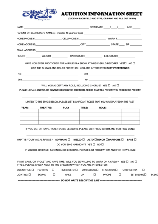 audition form template