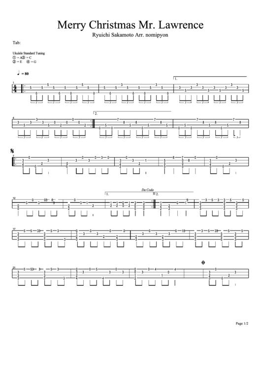 Merry Christmas Mr. Lawrence - Ryuichi Sakamoto Chord Chart