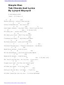Simple Man Tab Chords And Lyrics By Lynyrd Skynyrd
