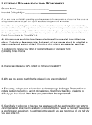 Letter Of Recommendation Worksheet Template