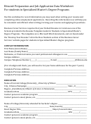 Resume Preparation And Job Application Data Worksheet Template For Students In Specialized Master's Degree Programs