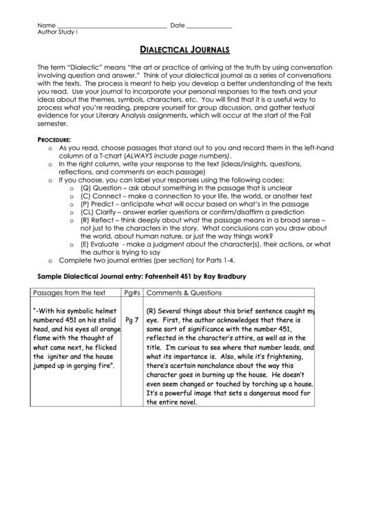 dialectical journals worksheet template printable pdf download