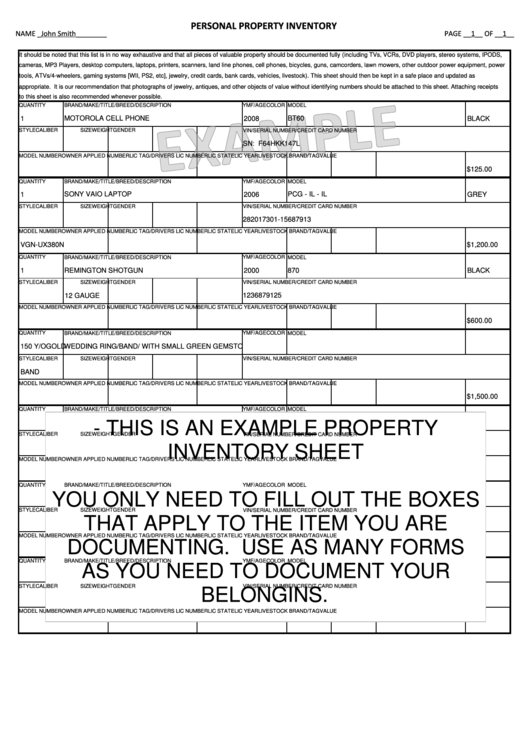 Personal Property Inventory Sheet Example Printable pdf