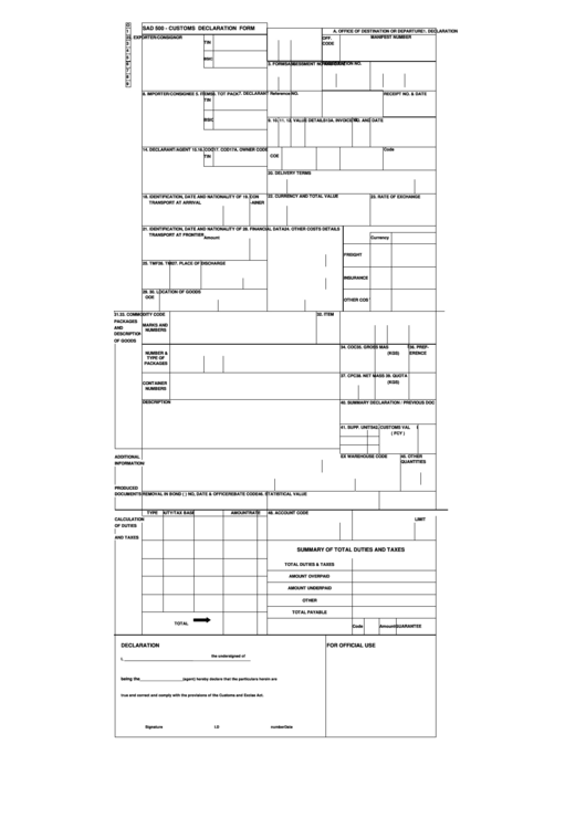 sad 500 customs declaration form printable pdf download