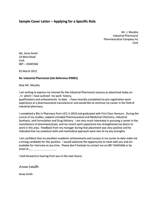Sample Cover Letter Printable pdf