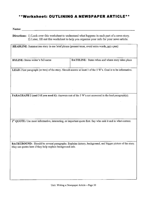 Newspaper Article Outline Worksheet