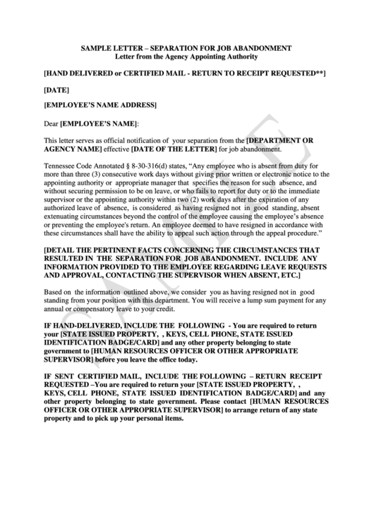 job abandonment letter sample letter abandonment printable pdf 22628 | page 1 thumb big