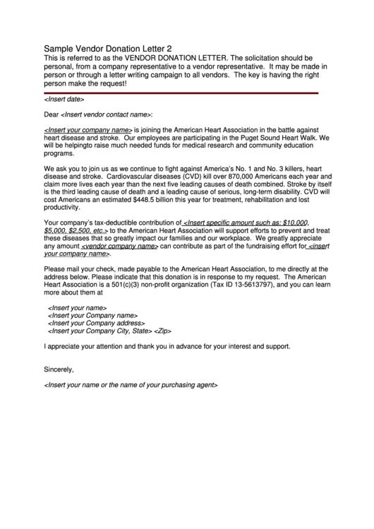 sample vendor donation letter template printable pdf download