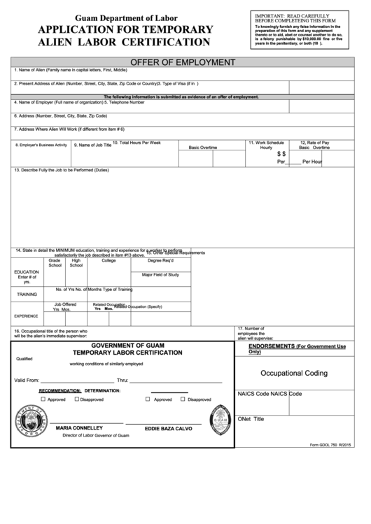 Fillable Form Gdol 750 - Application For Temporary Alien Labor ...