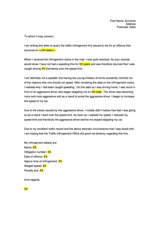 Traffic Infringement Notice Complaint Letter Template Printable pdf