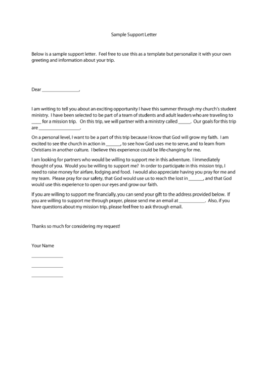 7 Mission Trip Support Letter Templates Free To Download In Pdf