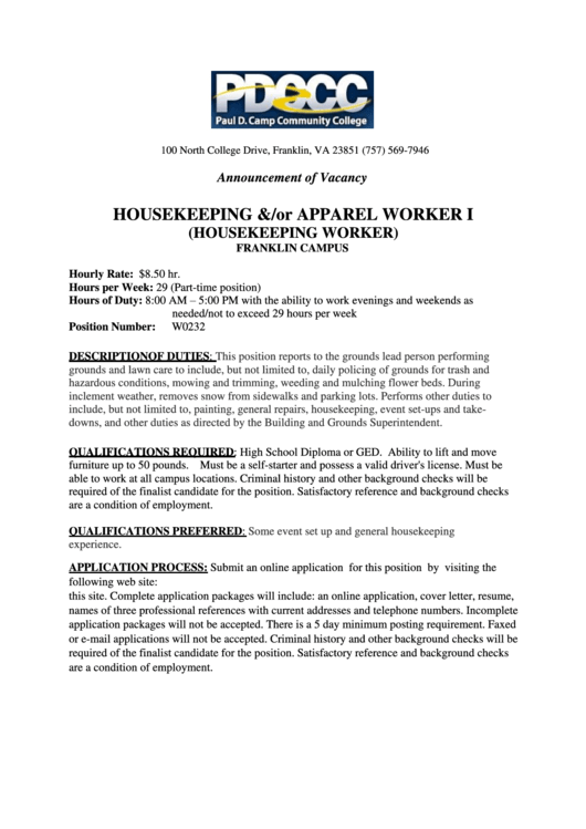 Housekeeping Job Description Printable pdf