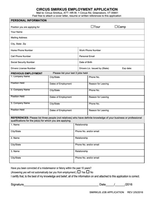 Circus Smirkus Employment Application Form