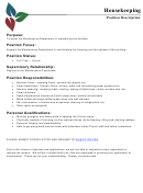 Housekeeping Position Job Description Template