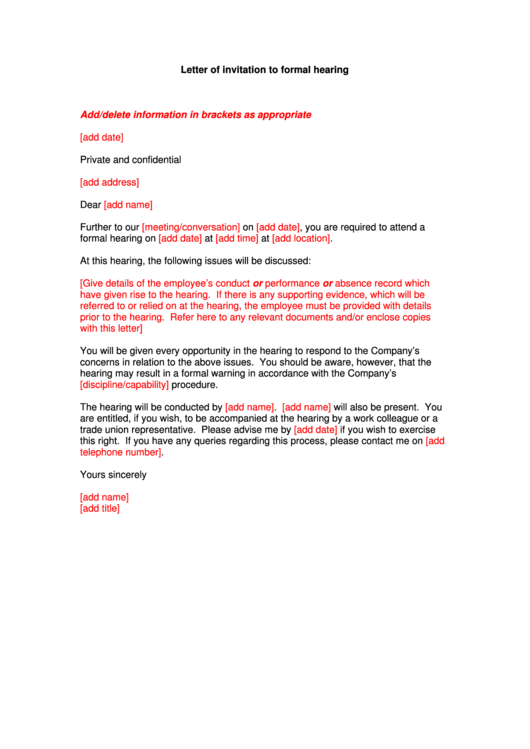 Letter Of Invitation To Formal Hearing Example Printable pdf