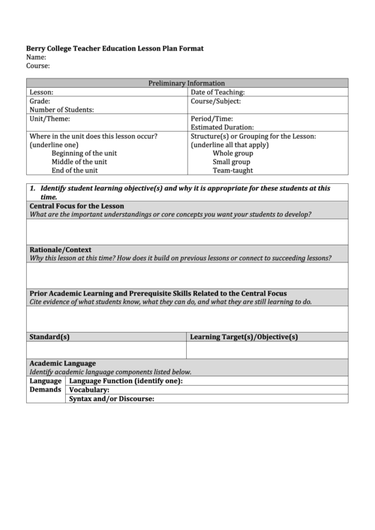 Berry College Teacher Education Lesson Plan Format