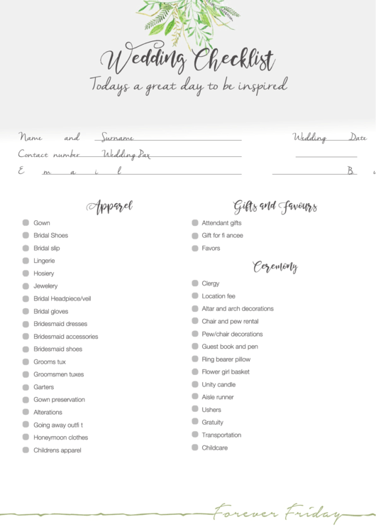 Wedding Day Checklist - Forever Friday printable pdf download